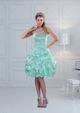 Fashionable Ruffled Sweetheart Beaded Prom Dresses in Apple Green