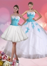 2015 Beaded Sweetheart Quinceanera Dress in White and Blue