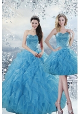 2015 Designer Baby Blue Dresses for Quince with Beading and Ruffles