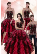 Designer Multi Color Dresses for Quince with Ruffles and Beading