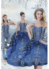 Designer Blue Sweet 15 Dresses with Embroidery and Beading for 2015