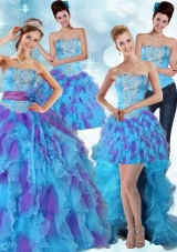 Detachable Multi Color Strapless Quinceanera Dress with Ruffles and Sash