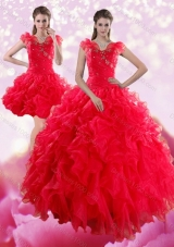 Detachable Red Sweetheart Dresses for Quince with Ruffles and Beading