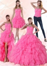 Detachable Strapless Floor Length Quinceanera Dress with Beading and Ruffles
