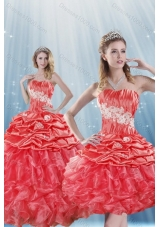 Romantic Watermelon Red Quince Dresses with Appliques and Ruffles