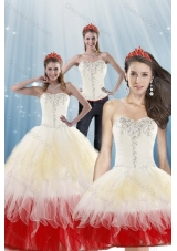 2015 Detachable Multi Color Quinceanera Dresses with Beading and Layers