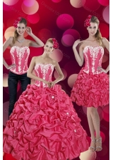 2015 Detachable Pick Ups and Appliques Hot Pink Quinceanera Dresses