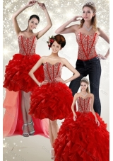 2015 Fashionable and Newest Beading and Ruffles Quince Dress in Red