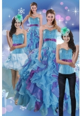 2015 Fashionable Multi Color Dresses for Quince with Ruffles and Beading