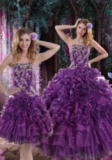 2015 Fashionable Purple Dresses for Quince with Appliques and Ruffles