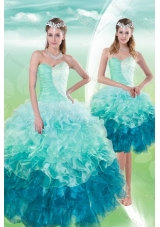 2015 Fashionable Sweetheart Multi Color Quince Dresses with Beading and Ruffles