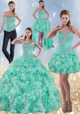 Detachable Sweetheart Quinceanera Dresses in Apple Green with Ruffles and Beading for 2015