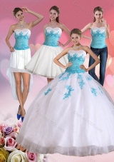 2015 Beautiful Strapless Beading and Appliques Quinceanera Dress in Multi Colore