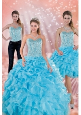 2015 Fashionable Sweetheart Ruffled Quinceanera Dresses in Baby Blue