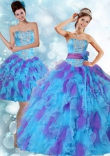 Beaded Strapless Multi Color Quinceanera Dresses with Ruffles and Sash