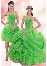 Fashionable 2015 Pick Ups and Beading Quince Gowns in Spring Green
