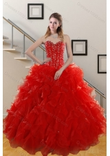 Fashionable 2015 Sweetheart Red Quince Gowns with Beading and Ruffles