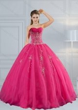 2015 New Style Sweetheart Hot Pink Quinceanera Dress with Appliques and Beading