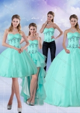 New Style Pretty Apple Green Sweetheart 2015 Quinceanera Dress with Appliques and Beading