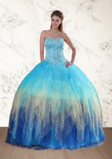 New Style Sweetheart Multi Color Quinceanera Dress with Ruffles and Beading