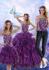 New Style Fantastic Purple Strapless Quince Dresses with Appliques and Ruffles for 2015