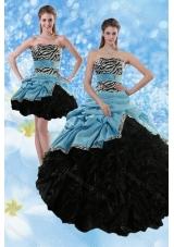 New Style Zebra Print Multi Color Strapless Quince Dresses with Ruffles and Pick Ups