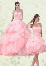 2015 Cute Sweetheart Beaded Sweet Sixteen Dresses with Ruffled Layers
