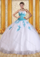 2015 Cute Sweetheart Floor Length Sweet Sixteen Dress in White and Blue