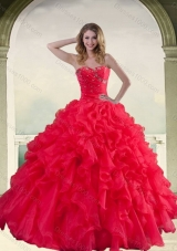 Elegant Red Strapless Quinceanera Dress with Ruffles and Beading