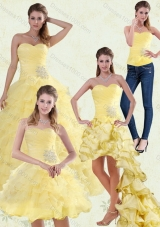 Yellow Beaded and Ruffled Sweetheart Sweet Sixteen Dress for 2015