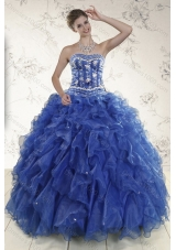 2015 Unique and Detachable Royal Blue Quince Dresses with Beading and Ruffles