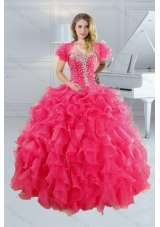 2015 Unique Hot Pink Sweet Sixteen Dresses with Ruffles and Beading
