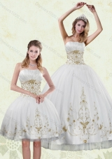 Inexpensive Embroidery White and Gold Sweet Sixteen Dress for 2015