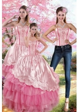 Pink Strapless 2015 Sweet Sixteen Dresses with Embroidery and Ruffles