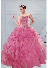 The Super Hot 2015 Beading and Ruffles Sweet Sixteen Dresses in Coral Red