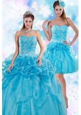 Unique and Detachable Exquisite Appliques and Pick Ups Quinceanera Dresses for 2015