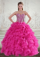 Vestidos de Sweetheart Hot Pink 2015 Quinceanera Gown with Beading and Ruffles