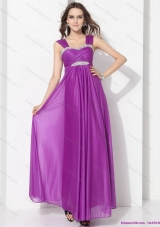 Romantic Empire Floor Length Prom Dress with Ruching and Beading