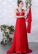 2015 Beautiful Empire Red Prom Dress with Brush Train and Beading