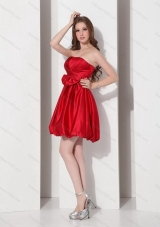 2015 Elegant Strapless Bowknot Mini Length Prom Dress in Red