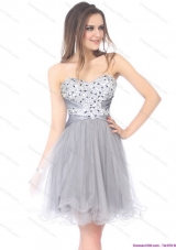 2015 Luxurious Short Sweetheart Grey Prom Dress with Rhinestones