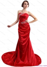 2015 Popular Ruching and Beading Prom Dress with Brush Train