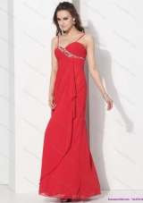 2015 Red Spaghetti Straps Prom Dresses with Ruching and Beading