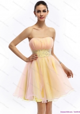2015 Short Strapless Multi Color Prom Dress with Beading and Ruching