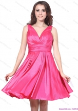 2015 Wonderful V Neck Short Prom Dress with Ruching