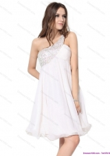Free and Easy One Shoulder Beading Prom Dress in White