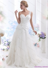 2015 The Super Hot One Shoulder Wedding Dress with Ruching and Lace