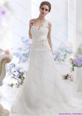 2015 Top Selling A Line Wedding Dress with Lace and Hand Made Flowers