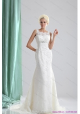 2015 Top Selling Lace and Beading Wedding Dress with Brush Train
