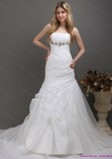 2015 Top Selling Strapless Wedding Dress with Ruching and Paillette